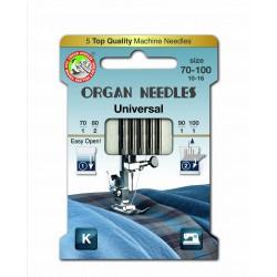 Machine Needles ORGAN UNIVERSAL Assort (Standard) 130/705H - 5pcs/paper box (70:1, 80:2ks, 90:1ks, 100:1pcs)