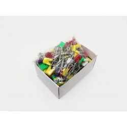 Curved Children Safety Pins Plastic/Metal wire 60x1,20mm Assorted colours - 100pcs/box