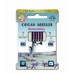 Machine Needles ORGAN EMBROIDERY ASSORT 130/705H - 5pcs/card (75:3, 90:2pcs)