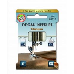 Machine Needles ORGAN TITANIUM 130/705H - 75 - 5pcs/card
