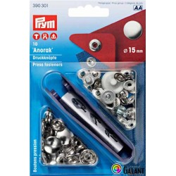 Press fasteners ANORAK 15mm - nickel plated (Prym) - 10pcs/card