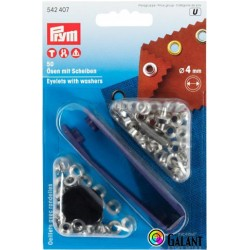 Eyelets 4mm with Washers - nickel plated  (Prym) - 50pcs/card