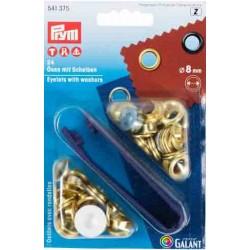 Brass Eyelets with Washers 8mm - Brass (Prym) - 24pcs/card