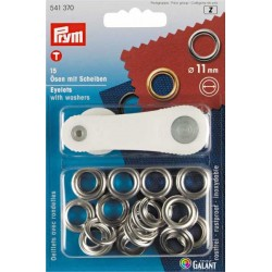 Brass Eyelets with Washers 11mm - Nickel plated (Prym) - 15pcs/card