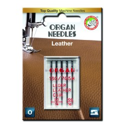 Machine Needles ORGAN LEATHER 130/705H - Assort - 5pcs/plastic box/card (90:3, 100:2pcs)
