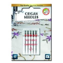 Machine Needles ORGAN EMBROIDERY 130/705H - 75 - 5pcs/plastic box/card