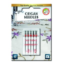 Machine Needles ORGAN EMBROIDERY 130/705H - Assort - 5pcs/plastic box/card (75:3, 90:2pcs)