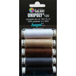 Polyester threads UNIPOLY 120 MIX (TEX14x2) - 100m/spool - 5spools/cassette