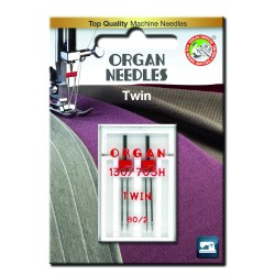 Machine Needles ORGAN TWIN 130/705 H - 80 (2,0) - 2pcs/plastic box/card
