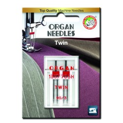 Machine Needles ORGAN TWIN 130/705 H - 90 (3,0) - 2pcs/plastic box/card