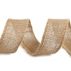 Burlap ribbon - raw, 40mm, 10m/bunch