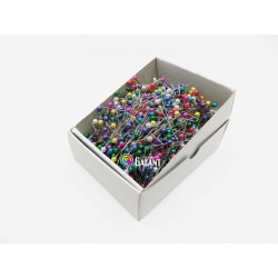 Plastic pearled Head Pins 38x0,60mm asort colours - 1000pcs/box