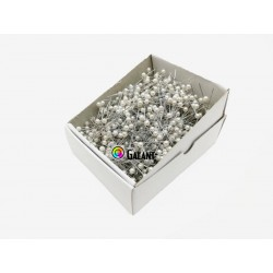 Plastic pearled Head Pins 38x0,60mm - nickel plated - c. white - 1000pcs/box
