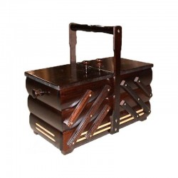 Wooden Folding Sewing Box (small) - c. dark brown - 1pcs