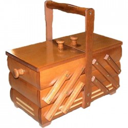 Wooden Folding Sewing Box (middle) - c. light brown - 1pcs