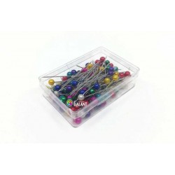 Plastic pearled Head Pins 38x0,60mm - nickel plated - asort colours - 100pcs/box
