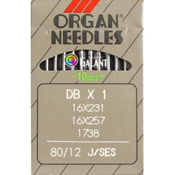 Industrial Machine Needles ORGAN DBx1 SES - 80/12 - 10pcs/card