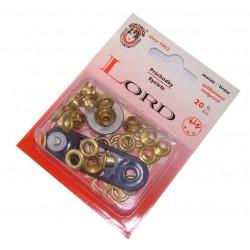 Brass Eyelets with washers 5 - polished - 20pcs/card