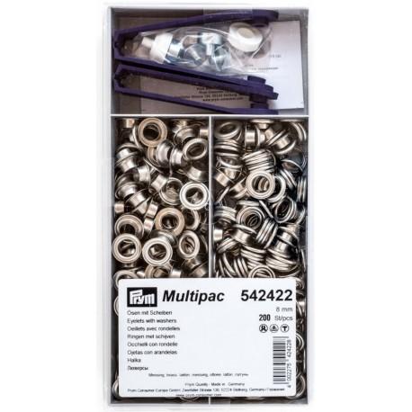 Brass Eyelets with washers 8mm - nickel plated (Prym) - 200pcs/box
