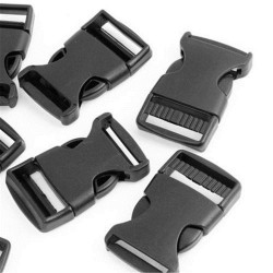 Side Release Buckles with Strap Adjuster 15mm - c. black - 1pcs