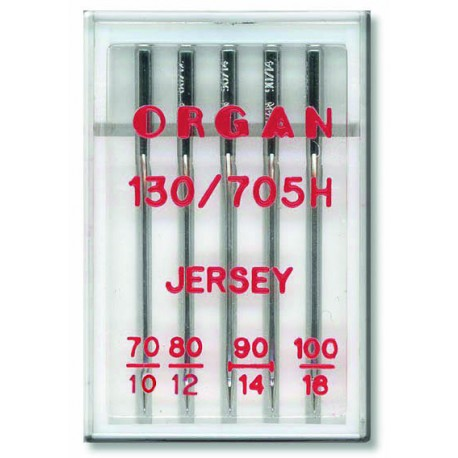 Machine Needles ORGAN JERSEY 130/705H - Assort - 5pcs/plastic box