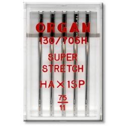 Strojové jehly ORGAN SUPER STRETCH 130/705H - 75 - 5ks/plastová krabička