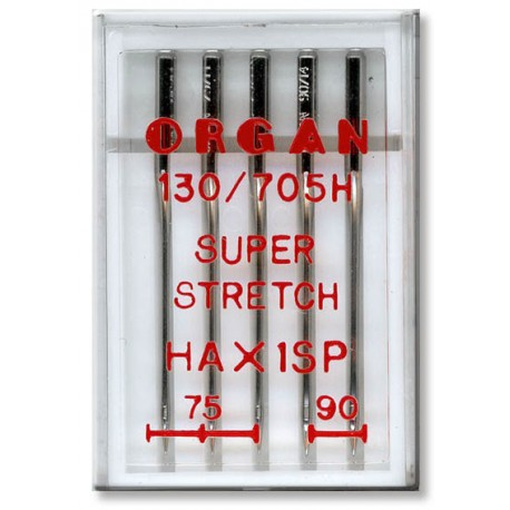 Machine Needles ORGAN SUPER STRETCH 130/705H - Assort - 5pcs/plastic box