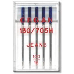 Strojové jehly ORGAN JEANS 130/705H - 100 - 5ks/plastová krabička
