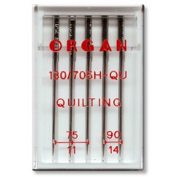Machine Needles ORGAN QUILTING 130/705H - Assort - 5pcs/plastic box (75:3, 90:2pcs)