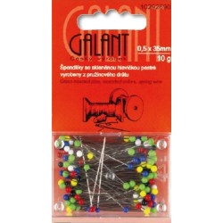Glass Head Pins 35x0,50mm assort colours - 10g/card