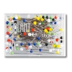 Glass Head Pins 30x0,60mm assort colours - 10g/plastic box