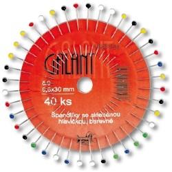 Glass Head Pins 30x0,60mm assort - 40pcs/rosette