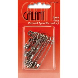 Mild Steel Safety Pins 0–3 nickel - 12pcs/card