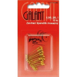 Brass Safety Pins 3/0, 2/0, 1 - 12pcs/card