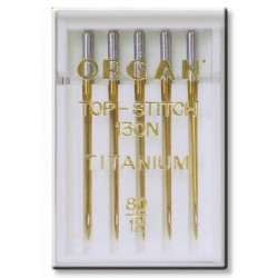 Machine Needles ORGAN TOP STITCH TITANIUM 130/705H - 80 - 5pcs/plastic box