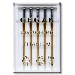 Machine Needles ORGAN TITANIUM 130/705H - Assort - 5pcs/plastic box (75:2, 80:2, 90:1pcs)