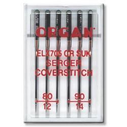 Machine Needles ORGAN EL x 705 Chromium SUK - Assort - 6pcs/plastic box (80:3, 90:3pcs)